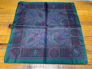 ETRO Milano Pocket Square Handkerchief, 100% Italian Silk, Hunter Green Blue EUC