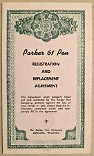 Vintage 1959 Parker 61 Pen Registration & Replacement Agreement -- 2782
