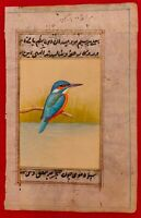 Hand Painted KingFisher Bird Birds Miniature Painting India Art Nature Old Paper
