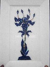 "7""x10"" Marble Serving Tray Plate Rare Lapis Gems Pietradure Inlay Art Gifts H567"