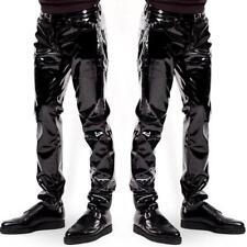 Hommes Discothèque Fête Slim Fit PVC Brillant Cuir Serré Leggings Pantalon Chaud