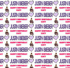 Personalised Gift Wrapping Paper JUSTIN BIEBER Birthday Sheet Any Name JB1