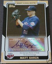 2008 Topps Highlights MATT GARZA Auto Certified Minnesota Twins Autograph #HA-MG