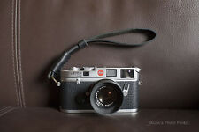 Handmade Real Leather wrist camera strap for vintage film EVIL camera BLACK