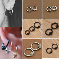 1 pair Fashion Stainless Unisex Women Men Ear Stud Hoop Earrings Wedding Jewelry