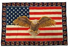 Vintage Wall Tapestry American Flag & Bald Eagle 100 % cotton made in Turkey