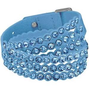 Swarovski Women's Bracelet Power Blue Fabric Crystals Double-Wrap 5523043