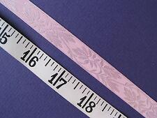 "A2279 RIBBON Satin Jacquard Floral Light Pink 5/8"" W 6 Yds"