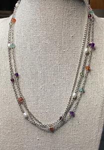 """Silpada Sterling Necklace Amethyst Peridot Carnelian Garnet Apatite Pearl  17"""""""