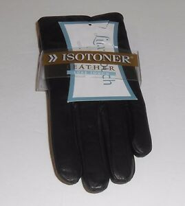Isotoner Ladies Genuine Leather Luxe Touch Lined Gloves Black Seven (7) NWT