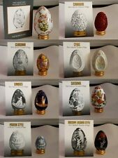 Franklin Mint Collector's Treasury of Eggs (lot of 13) with display shelf