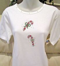 Christmas Rhinestone CANDY CANES Shirt~ Red Green Silver Holiday SPARKLE Top~ S