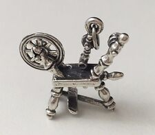Vintage Beau Sterling Silver Movable Spinning Wheels Charm Pendant (4.7 grams)