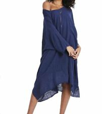 Navy Blue Lined Cheesecloth Cotton Boho Dress UK 8 - 14 RRP £39.95