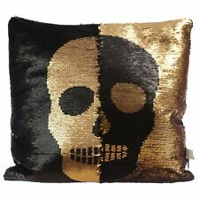 Black and Gold Sequin Skull Cushion Pillow Home Decor
