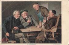 ARTIST SIGNED E. GRUTZNER - IN VERLEGENHEIT, ALCOHOL BEER BIER MONK PLAY CARDS