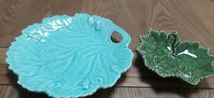 VINTAGE GREEN LEAF PLATE BORDALLO/MINT GREEN LEAF PLATE LILLY PAD WITH FROGS-VGC