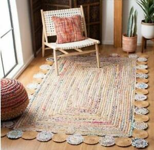 6x9 feet square Indian hand braided rug bohemian colorful jute cotton area rugs