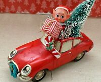 Vintage Mid Century Christmas Tree Santa Claus Porsche Car Assemblage Decoration