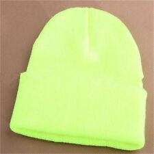 Men's Women Beanie Knit Ski Cap Hip-hop Blank Color Winter Warm Unisex Wool Hat Fluorescent Yellow