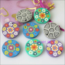 8Pcs Mixed Polymer Fimo Clay Round Flat Flower Beads Charms Pendants 25mm