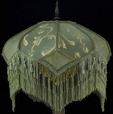 VICTORIAN LAMPSHADE SAGE GOLD SILK FABRIC beads fringe