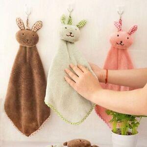 Cartoon Towel Kitchen Hand Towel Animal Ribbit Plush Hanging Wipe Bath Towel Rag