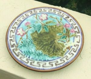 Colorful Antique Majolica Plate Turquoise Blue with Fern Leaf & Flowers