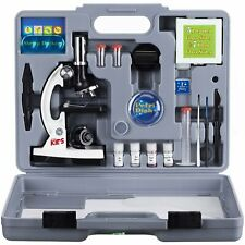 AmScope 52pc 120X-1200X Starter Compound Microscope Science Kit for Kids (White)