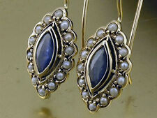 CE243 Elegant Genuine  9ct GOLD NATURAL Sapphire & Pearl Cluster Drop Earrings