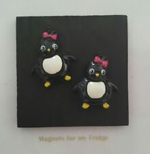PENGUINS WOODEN FRIDGE MAGNET WITH RESIN FEATURES -  M226