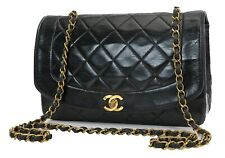 Authentic CHANEL Black Quilted Leather Chain Shoulder Flap Bag #28009A