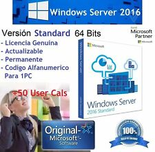 Licencia RETAIL KEY Windows Server 2016 Standard + 50 USER CALS Original Genuino