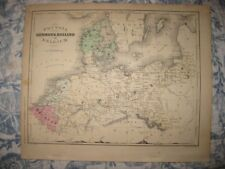 ANTIQUE 1868 PRUSSIA DENMARK HOLLAND BELGIUM GERMANY HANDCOLR MAP MOUNTAIN PRINT