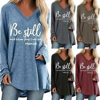 Womens Long Sleeve V Neck T-Shirt Tops Casual Loose Baggy Blouse Tee Plus Size