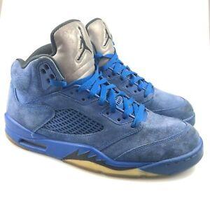 Jordan Mens Blue 8136027-401 5 Retro Suede Mid Top Athletic Shoes Size 10.5