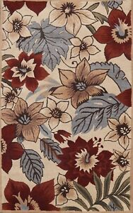 Contemporary Nature Print Modern Oriental Area Rug Wool Hand-Tufted 5x8 Carpet