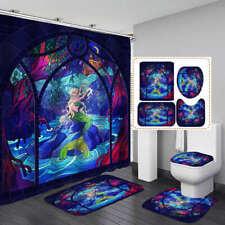 Retro Cartoon Mermaid Shower Curtain BathMat Toilet Cover Rug Bathroom Decor