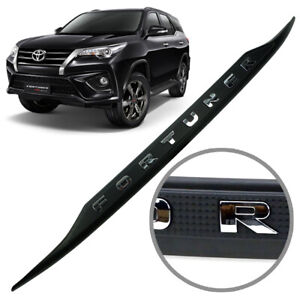 Strip Line Tailgate Accent Cover Matte Black Chrome Fits Toyota Fortuner 2016 18