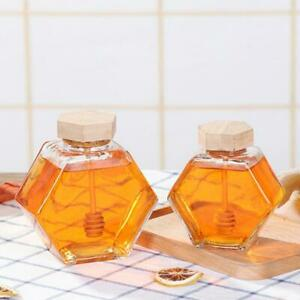 Honey Pot Hexagonal Glass Honey Jar with Wooden Cork Lid Cover for Home Kitchen