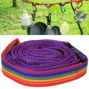 Outdoor Colorful Tent Storage Hanging Rope Clothesline+Storage Bag for Camping