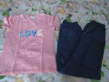 No Added Sugar Indigo playpants Love t-shirt top 9-10