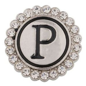 Fits Ginger Snap Ginger SNAPS LETTER P Initial Magnolia Vine JEWELRY 18mm Button