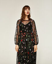 NEW ZARA BLACK LONG EMBROIDERED MIDI DRESS FLORAL TUNIC SIZE S *BLOGGERS*