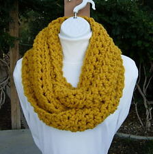 Solid Mustard Yellow INFINITY SCARF Handmade Crochet Knit Chunky New Winter Cowl