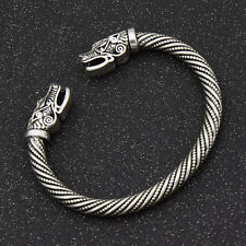 Norse Viking Wolf Head Silver Open Bracelet Gothic Bangle Jewellery Adjustable