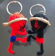 SET OF 2 CHRISTMAS GIFT HANDMADE BOXING MUAY THAI STRING DOLL KEYCHAIN KEY RING