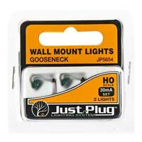 Woodland (HO-Scale) JP5654 Just Plug Wall Mount Gooseneck Lights (2 Pkg) NIB