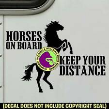 Horses On Board - Rearing Decal Sticker Caution Tailgaiting Back Door Sign Blk