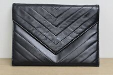 Yves Saint Laurent Black Vintage Chevron Envelope Clutch Pouch Used Authentic